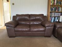 two seater and three seater distressed leather settes