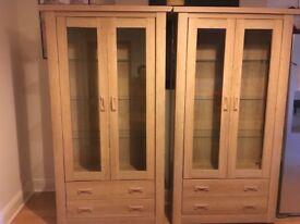 Oak Effect Display Cabinets