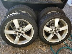 LIKE NEW  NISSAN MAXIMA  WINTER TIRES 245 / 45 / 18 ON AFTERMARKET ALLOY WHEELS