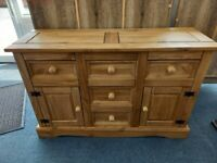 NEW Pine 5 Drawer, 2 Door Sideboard.