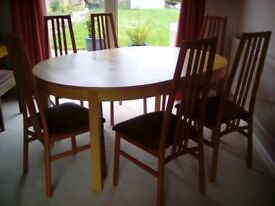DINING CHAIRS X 6. VERY STURDY, NOT BROKEN, DONT ROCK. WIPEABLE COVERS