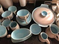 Poole pottery twintone sky blue and dove grey
