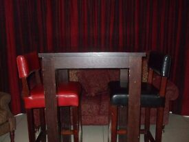 High Table and Leather Stools