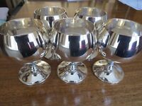 5 silver plated brandy/wine goblets
