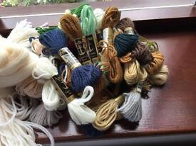 35 skeins Anchor Tapestry wool, a few with a little used, 1 hank Appletons, 265 grms cream 1 white