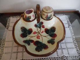 Victorian Majolica Strawberry Dish