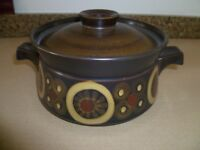 1970's Denby 'Arabesque' small casserole dish with lid