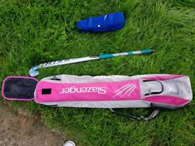 Girls hockey stick with shin pads and bag