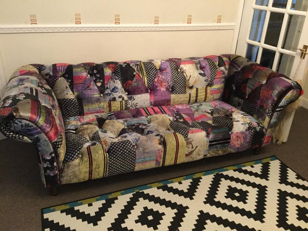 3 seater patchwork design scroll arm sofa