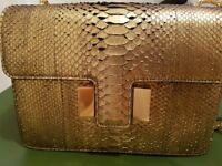 BRAND NEW DESIGNER HANDBAG TOM FORD SIENNA LARGE GOLD PYTHON EXOTIC SKIN