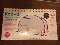 New Koodi pop up travel bubble cot with mattress
