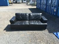 DFS CALVINO THREE SEATER AND A DFS CALVINO TWO SEATER SOFA IN BLACK LEATHER RRP £1595
