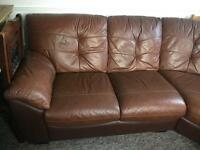 Leather Curved Sofa with storage pouffe