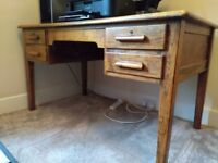 attractive solid wood desk, 4 drawers, sturdy and clean