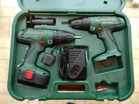 BOSCH CORDLESS HAMMER DRILL AND DRILL DRIVER PSB 18 VE-2 AND PSR 18 VE-2 IN CASE
