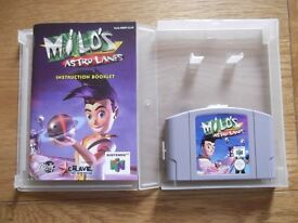 Milo's Astro Lanes - Nintendo 64 intergalactic bowling game with instructions & storage display box