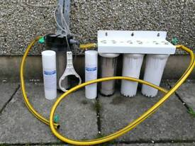 3 stage hma filter with extra pre filter and spare pre filter cartridges and unlocking key