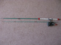 Fibreglass fishing rod, with spinning reel