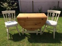 Rustic shabby chic folding dining table and four chairs