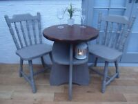 Charming Small Cafe/Bistro Dining Table and Two Chairs. Solid Oak. Annie Sloan French Linen. £70 ONO
