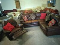 Leather corner sofa & recliner chair in VGC Delivery Poss
