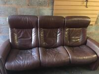 John Lewis reclining 3 Seater Leather Sofa with foot stool