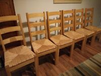 6 solid oak dining chairs rattan seats