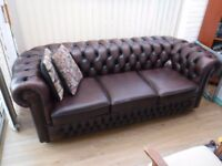 Leather Chesterfield Sofa 3 Seat Very Good Condition