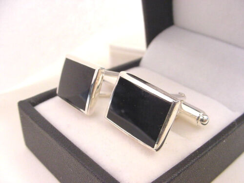 GENUINE NATURAL BLACK ONYX CUFFLINKS SOLID 925 STERLING SILVER   NEW FORMAL WEAR