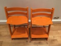 Tripp Trapp chairs (orange, rare!) 2 available