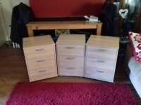 Set of three draws office or bedroom