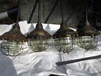 Vintage GEC Factory lights,blast proof glass. very rare.X 4 Retro. Steampunk.