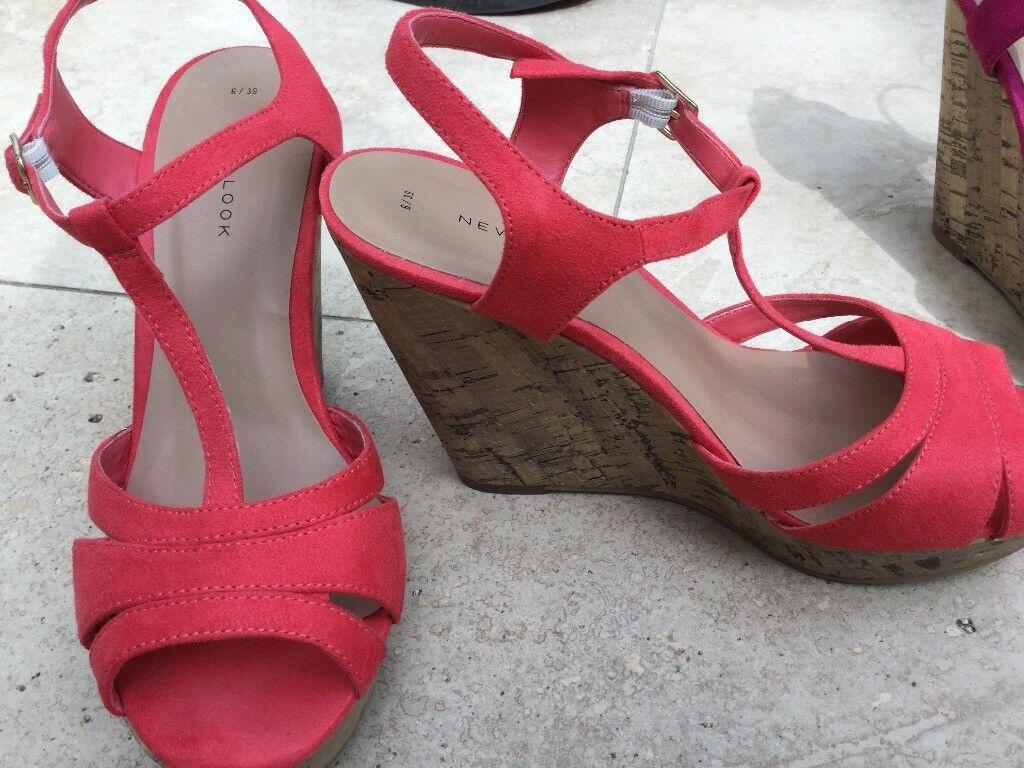 0756bdbc9451 2 pairs ladies New Look wedge heels size 6 coral and deep pink