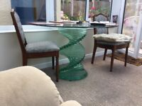 Heavy green glass dining table