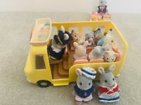 Sylvanian Families collection - nursery bus, camper van and little house