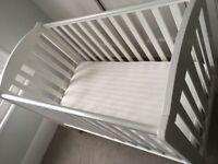 Baby cot and mattress. White. VGC