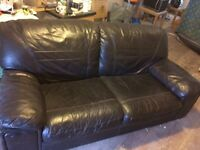 Leather brown sofa come bed