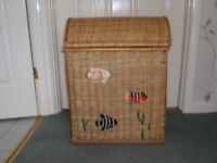 Lined Brown Wicker Washing Basket with Fish Design