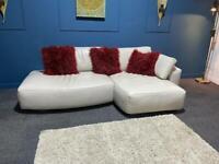 Cream leather chaise sofa
