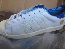 Brand New Adidas Superstar 80v -A-D Size 9.5. Eur 44 White/Blue Camo