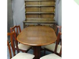 Priory style oak dresser and table and 4 chairs