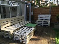 Pallet furniture needs repair and paint but free must go soon or getting scrapped