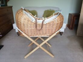 Mother Care Kinder Valley Wicker Moses Basket with Stand