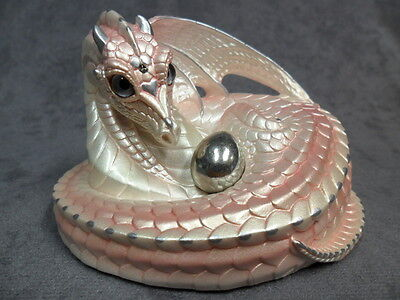 Windstone Editions * Shell Pink Mother Coiled Dragon * Figurine Statue Mythical