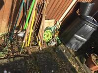Compost bin, Bucket and hose in great condition never used and a selection of used gardening tools