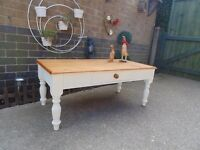 SOLID PINE FARMHOUSE COFFEE TABLE WITH LARGE DRAW PAINTED WITH LAURA ASHLEY CREAM COLOUR