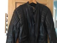 Akita men's black leather bikers jacket size 42