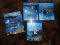 3D Blu Ray Box Set Over 3 Discs, Sharks, Dolphins, Whales & Ocean Wonderland