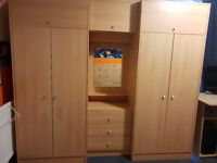 Bedroom Multi Wardrobe & Chest of Drawers in Very Good Condition