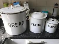 Enamel bread, flour and sugar bins